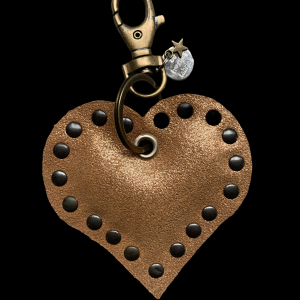 Leren hart sleutelhanger rosé goud - De Hartjesfabriek