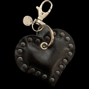 Leren hart sleutelhanger zwart