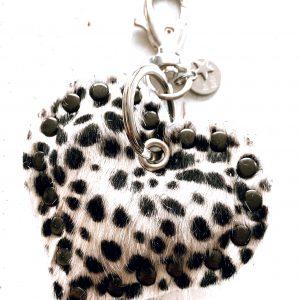 Leren hart sleutelhanger Cheetah - De Hartjesfabriek